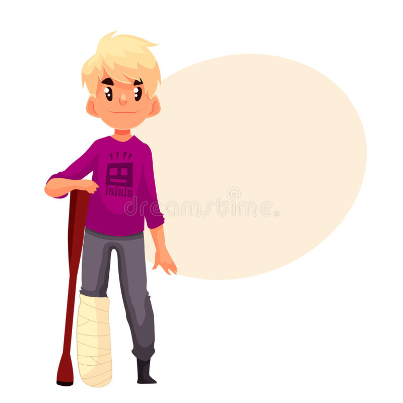 Little boy with broken leg and a crutch stock illustration