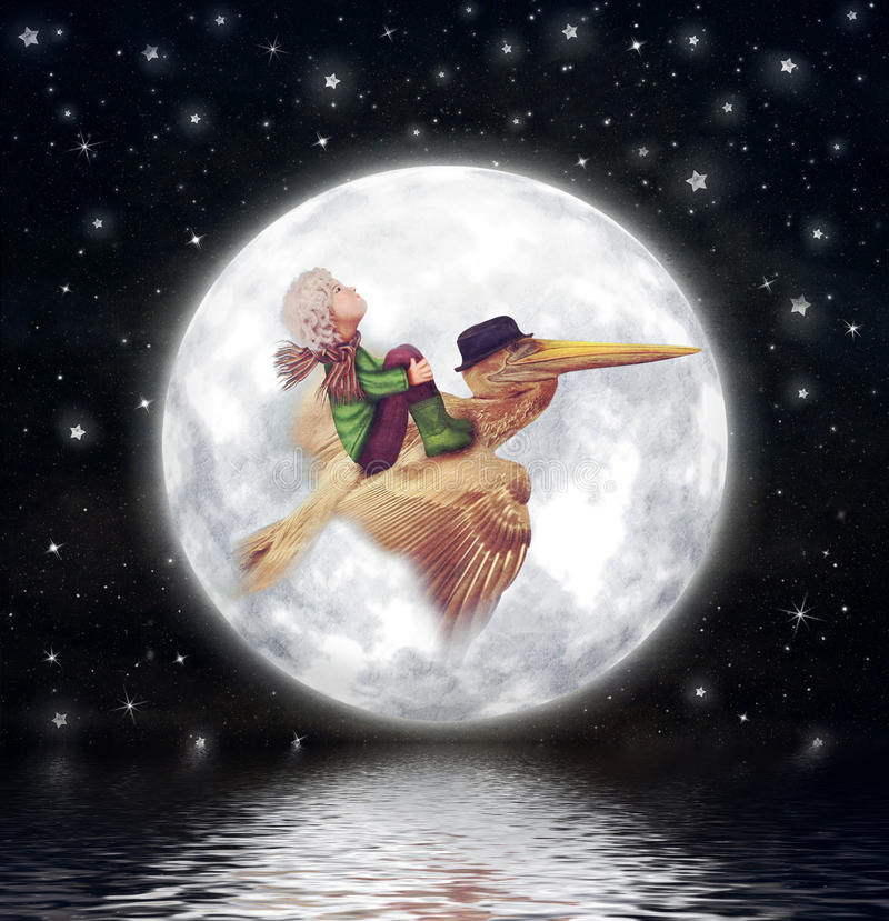 The little boy and brown pelican fly against the full moon in night sky. Illustration art vector illustration
