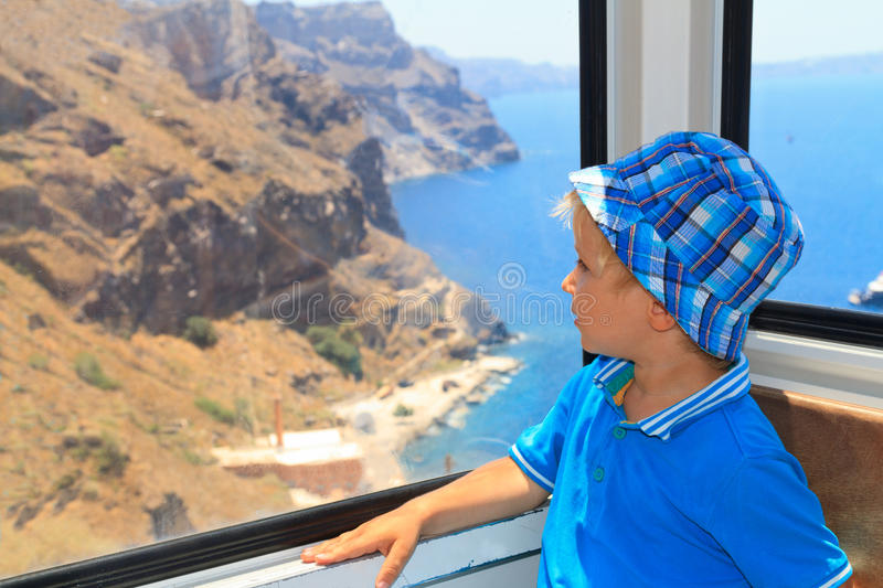 Little boy in cable car royalty free stock photos