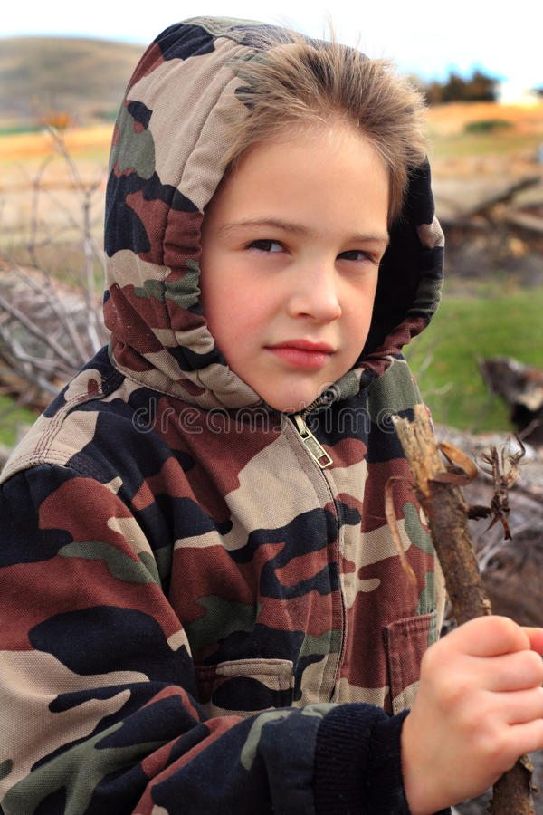 Download Little Boy in Camo Hoodie stock image. Image of blond - 35078943