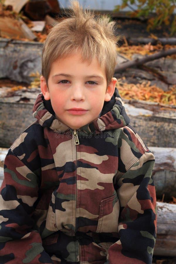Download Little Boy in Camo stock image. Image of schoolboy, coat - 35078967