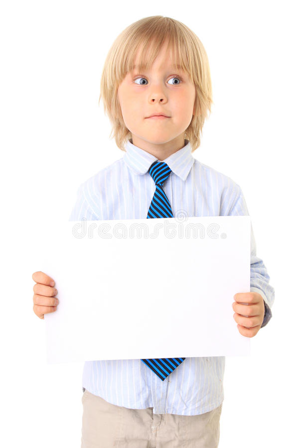 Download Little Boy With Card For Text Royalty Free Stock Image - Image: 15574256