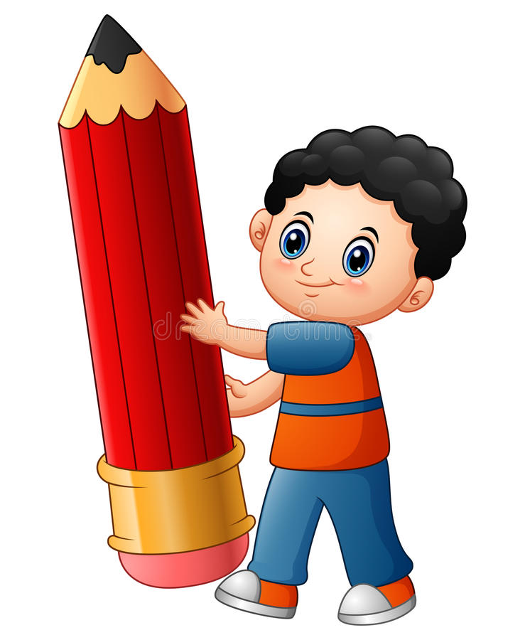 Little boy cartoon holding a pencil. Illustration of Little boy cartoon holding a pencil royalty free illustration
