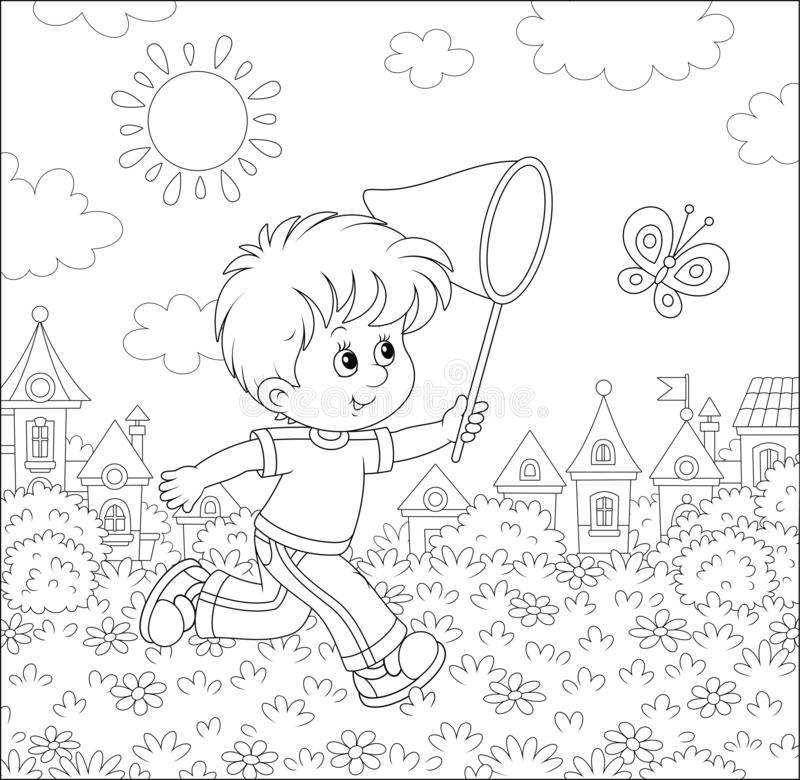 Little boy catching a butterfly royalty free illustration