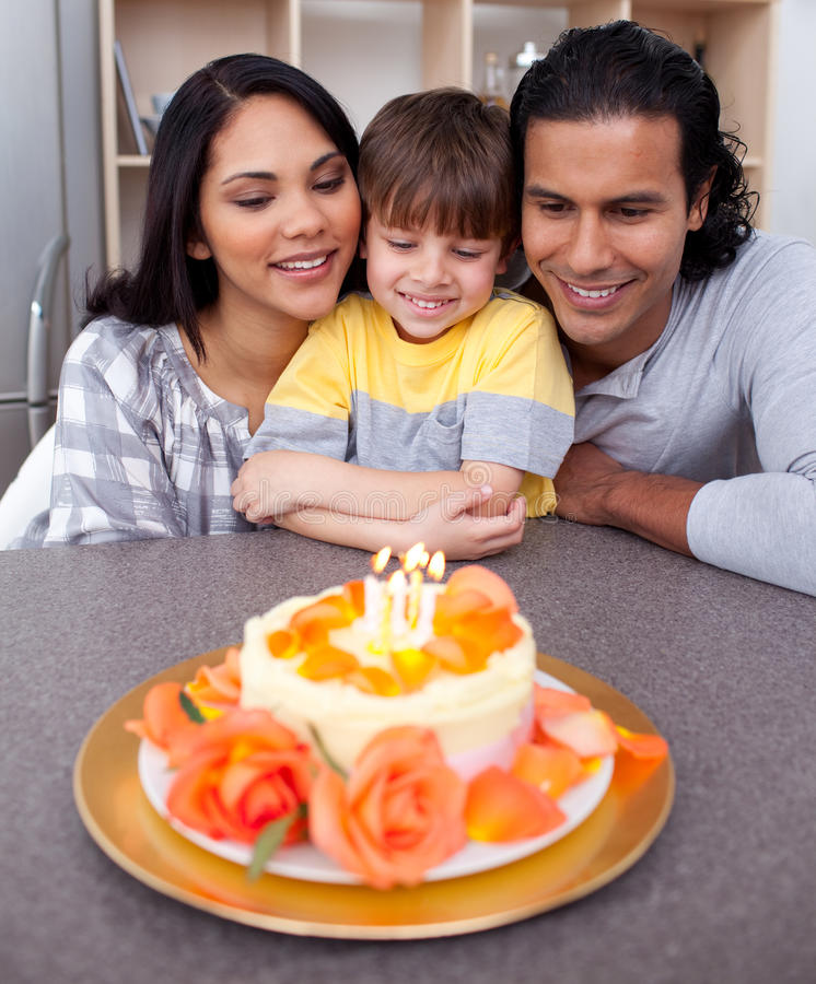 Little Boy Celebrating His Birthday Royalty Free Stock Photos