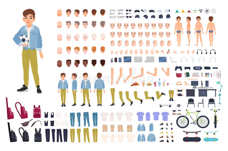 Little boy character constructor. Male child creation set. Different postures, hairstyle, face, legs, hands, clothes royalty free illustration