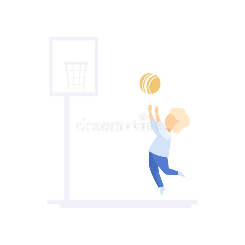 Little boy character playing basketball, family lifestyle concept vector Illustration on a white background. Little boy character playing basketball, family royalty free illustration