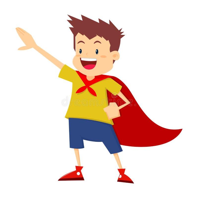 Little Boy che finge di essere eroe eccellente royalty illustrazione gratis