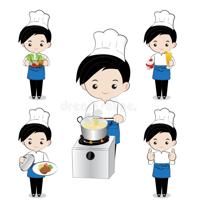 Little boy chef. Cooking on white background vector illustration