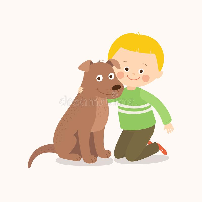 Little boy, child, kid with a brown dog friend, companion. vector illustration