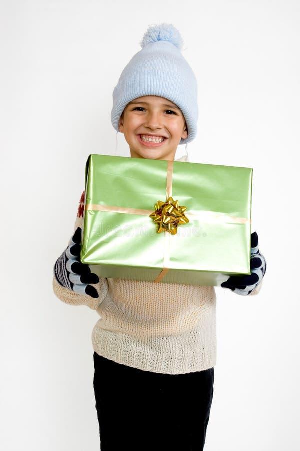 Little Boy With Christmas Gift Stock Image