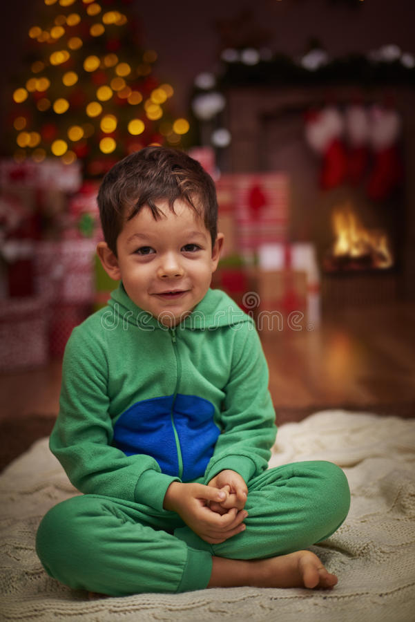 Little boy during Christmas stock images