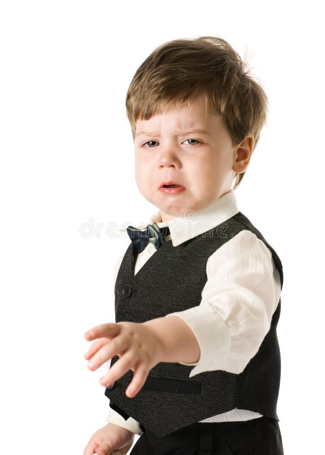 Little boy in classic suite royalty free stock images