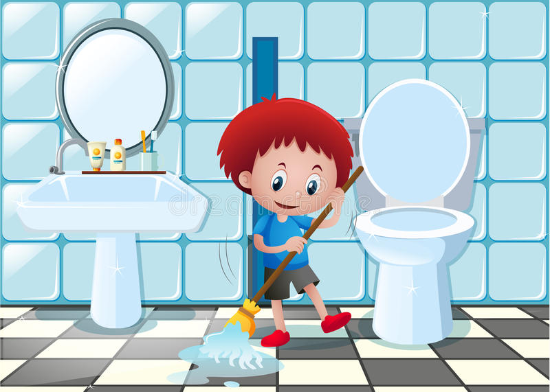 Little boy cleaning bathroom floor stock vector for Boden cartoon