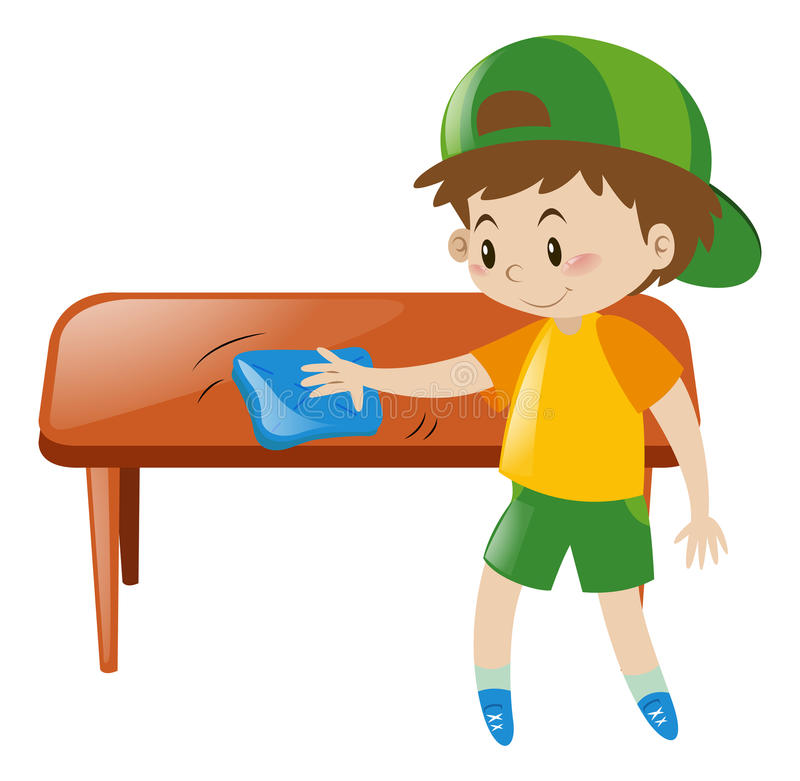 Little boy cleaning table with cloth stock illustration