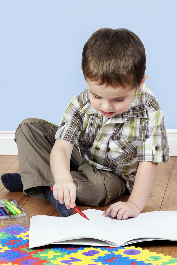 Little Boy Coloring Royalty Free Stock Photos