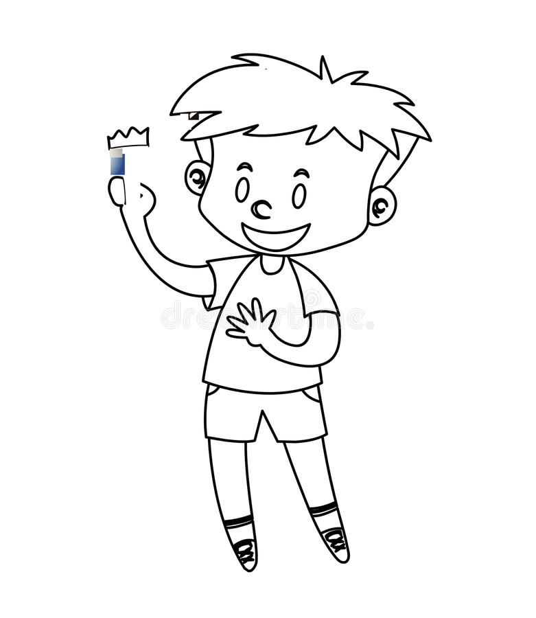 Download Little Boy Coloring Page Stock Illustration Of Drawn