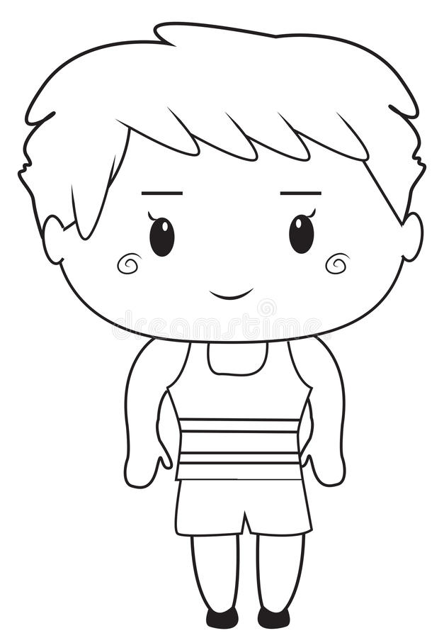 Download Little Boy Coloring Page Stock Illustration Of Characters