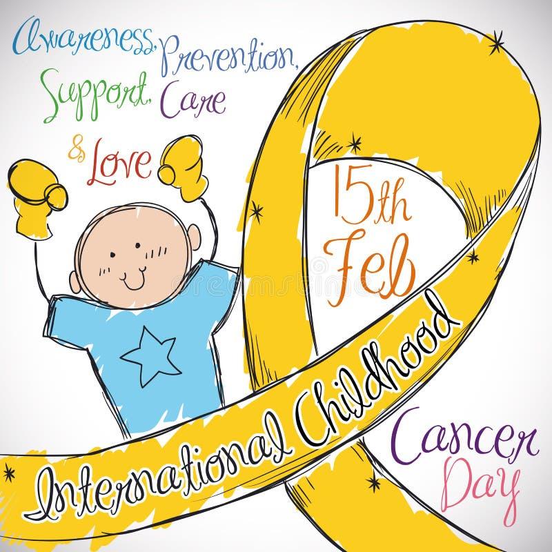 Little Boy con la cinta de oro que conmemora el día internacional del cáncer de la niñez, ejemplo del vector stock de ilustración