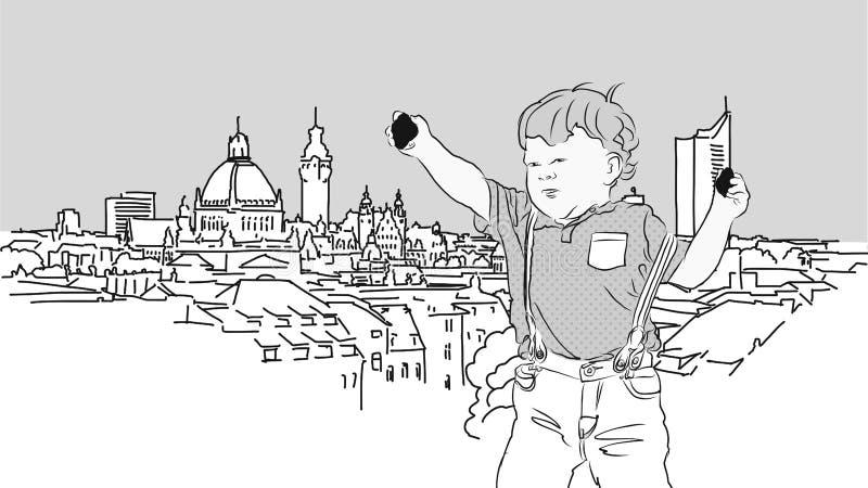 Little Boy con las rocas delante de Leipzig stock de ilustración