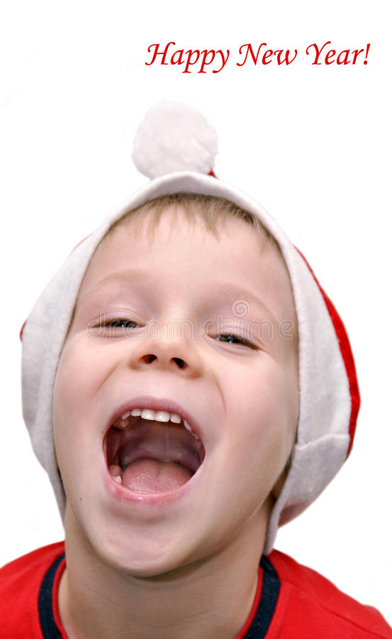 Download Little Boy Congratulates With Happy New Year Royalty Free Stock Photo - Image: 22401325
