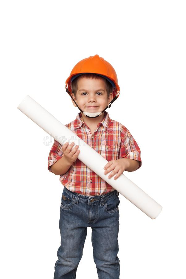 Child imagines himself an architect royalty free stock photography