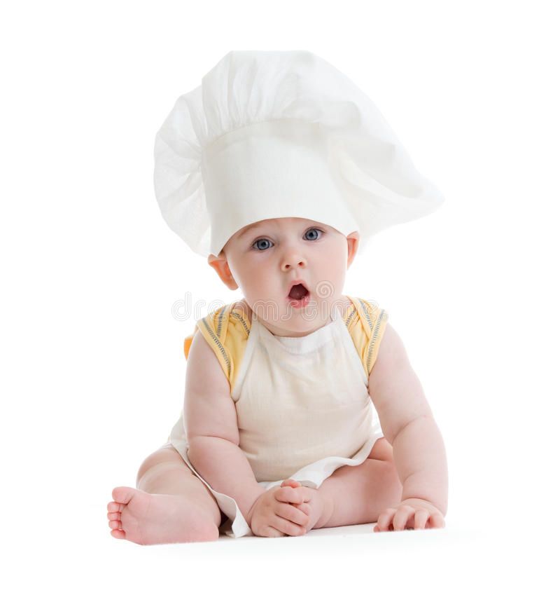 Little boy with cook hat isolated royalty free stock image
