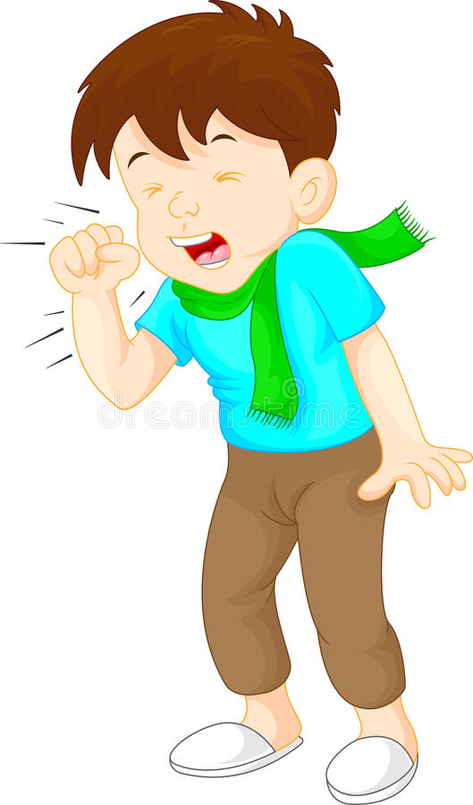 Little boy coughing on white background royalty free illustration