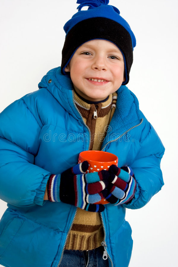Download Little Boy With Cup Of Hot Tea Stock Image - Image of childhood, cold: 7065077