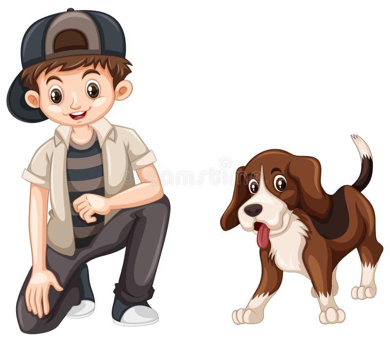 Little boy and cute beagle dog. Illustration vector illustration