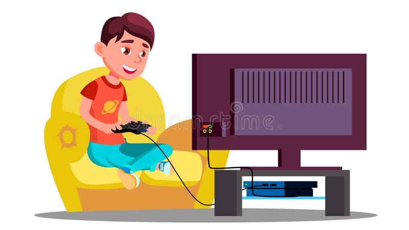 Little Boy, das Videospiele auf dem Couch-Vektor spielt Getrennte Abbildung stock abbildung