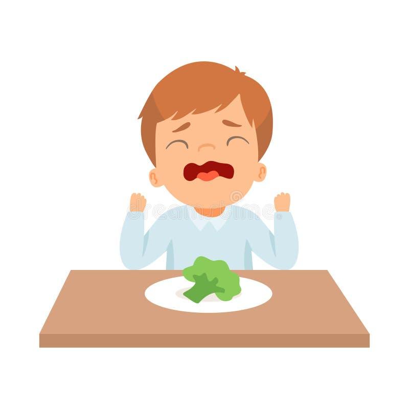 Little Boy de grito que recusa comer brócolis, criança faz não como a ilustração saudável do vetor do alimento ilustração do vetor