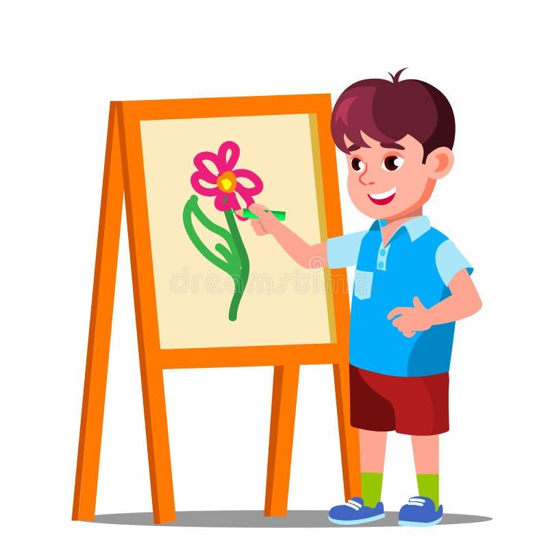 Little Boy dessine sur le papier avec le vecteur coloré de crayons Illustration d'isolement illustration stock