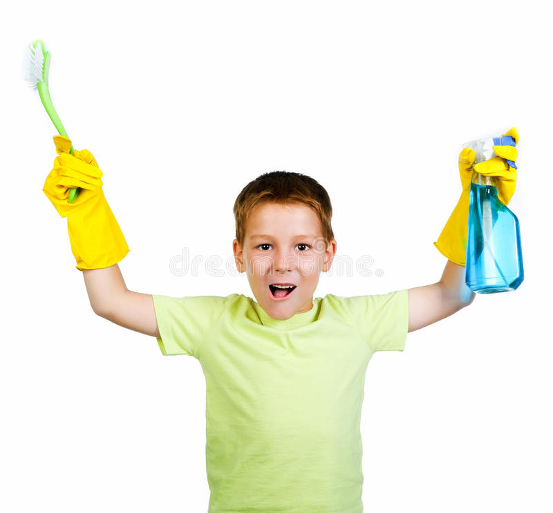 Little boy with detergent stock photo