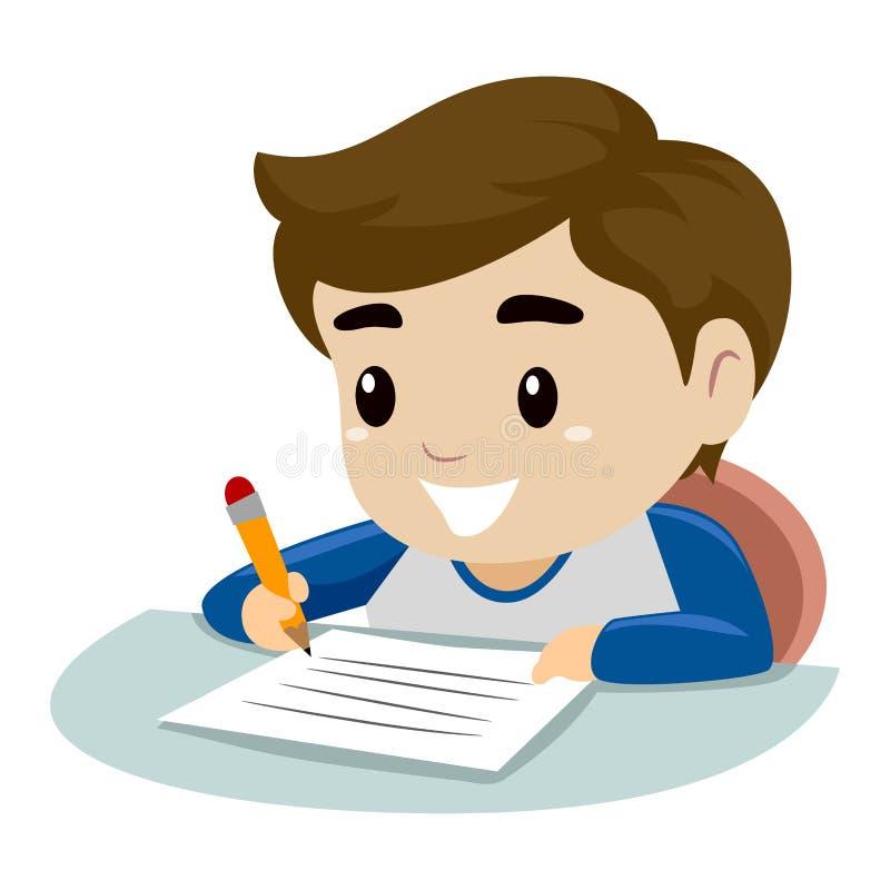 Little Boy die op een stuk van document schrijven vector illustratie