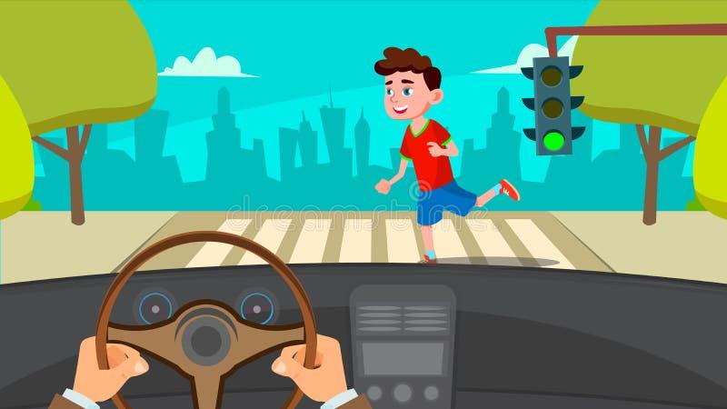 Little Boy die over de Weg in Front Of The Car een Bang gemaakte Bestuurder Vector in werking stellen Geïsoleerdeo illustratie stock illustratie