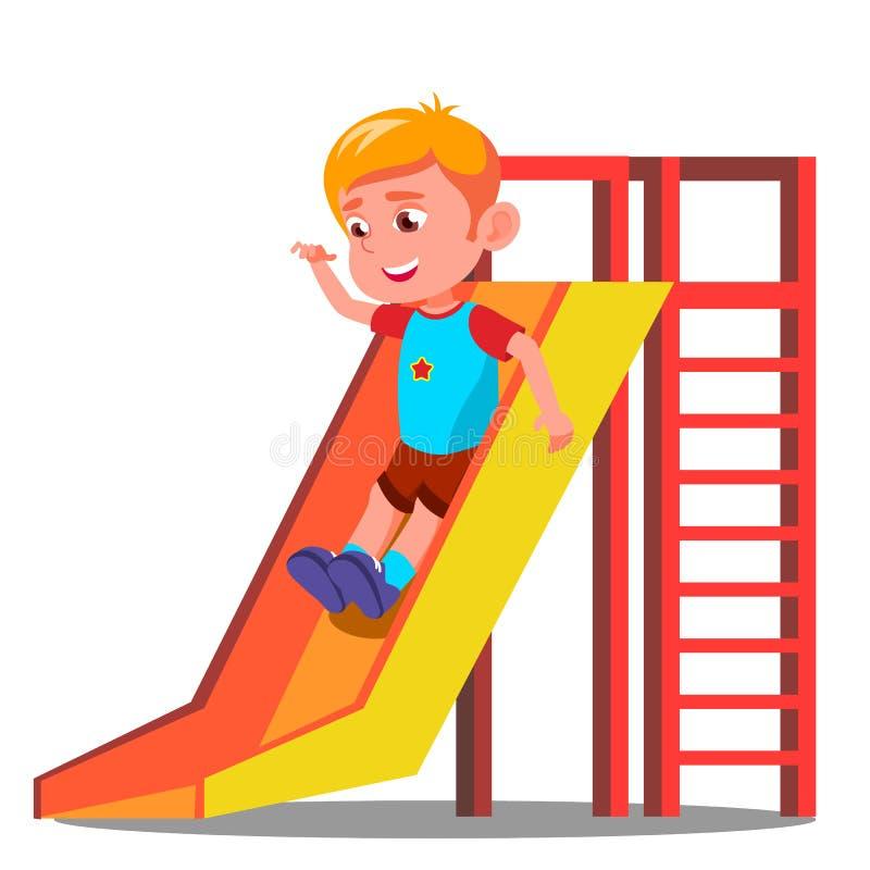 Little Boy divertendosi sul vettore dello scorrevole Illustrazione isolata illustrazione vettoriale