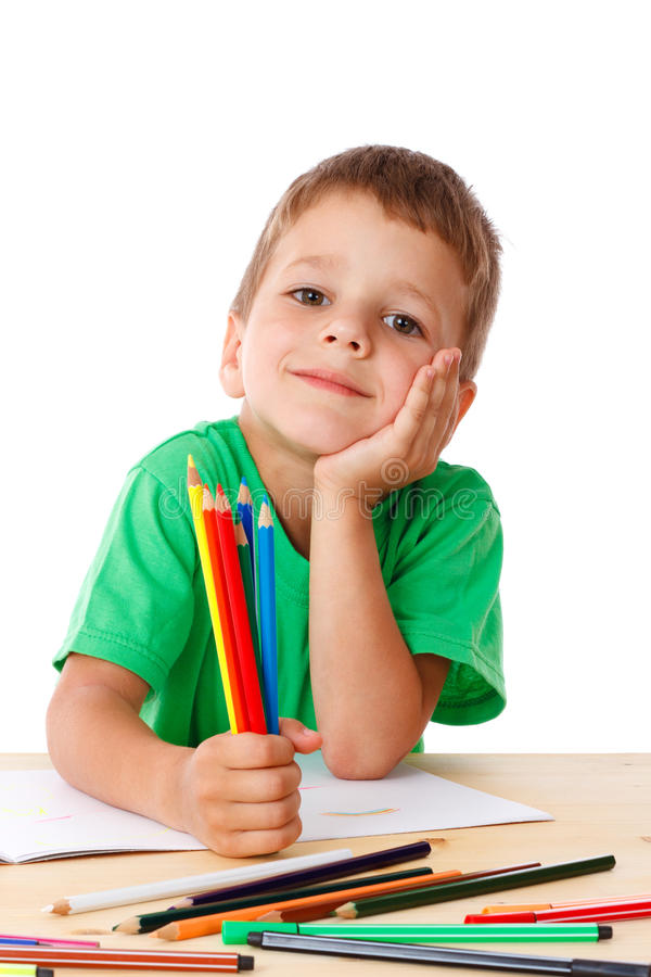 Download Little Boy Draw With Crayons Stock Image - Image: 25665331