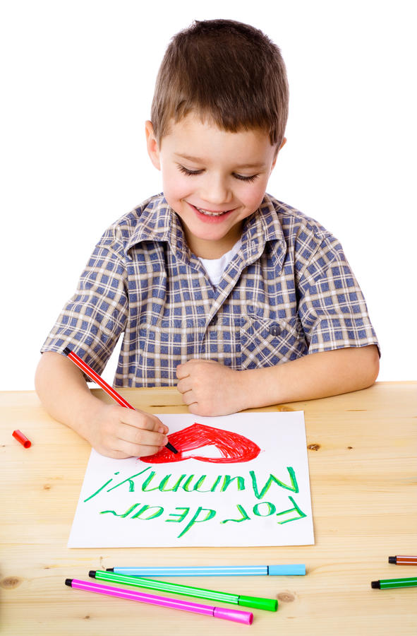 Download Little boy draw for mum stock image. Image of funny, happy - 23229993