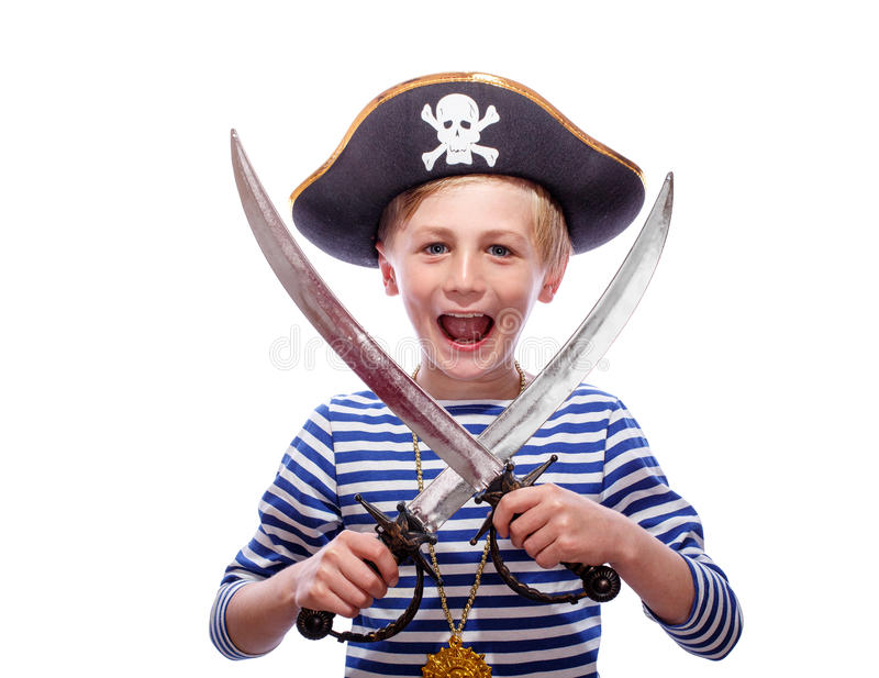 Little boy dressed as pirate. Little pirate boy with cutlass royalty free stock photography