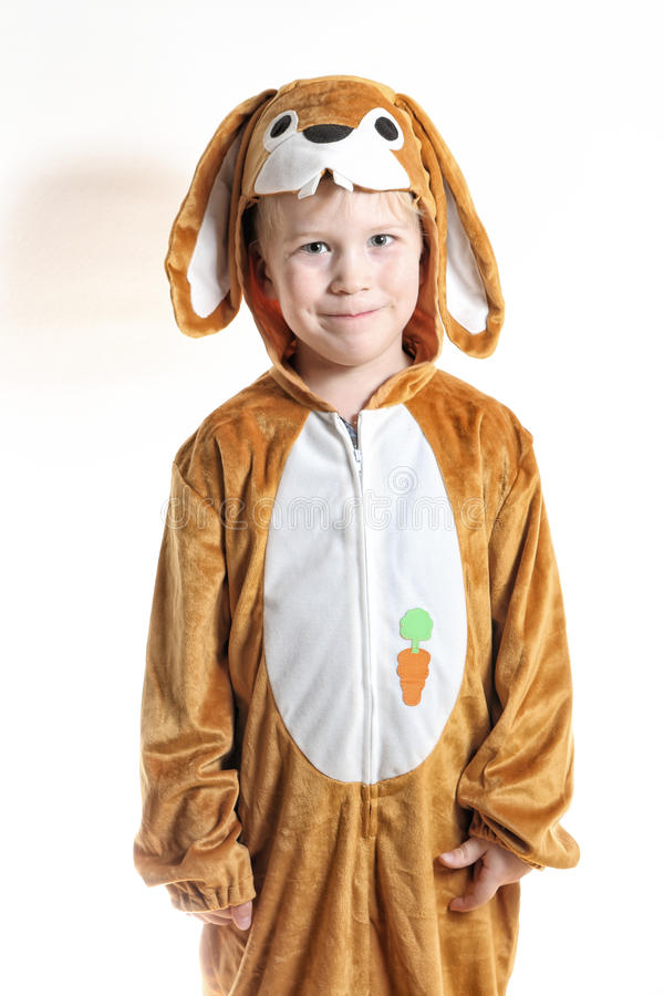 Little boy dressed as rabbit. With ears down royalty free stock photo