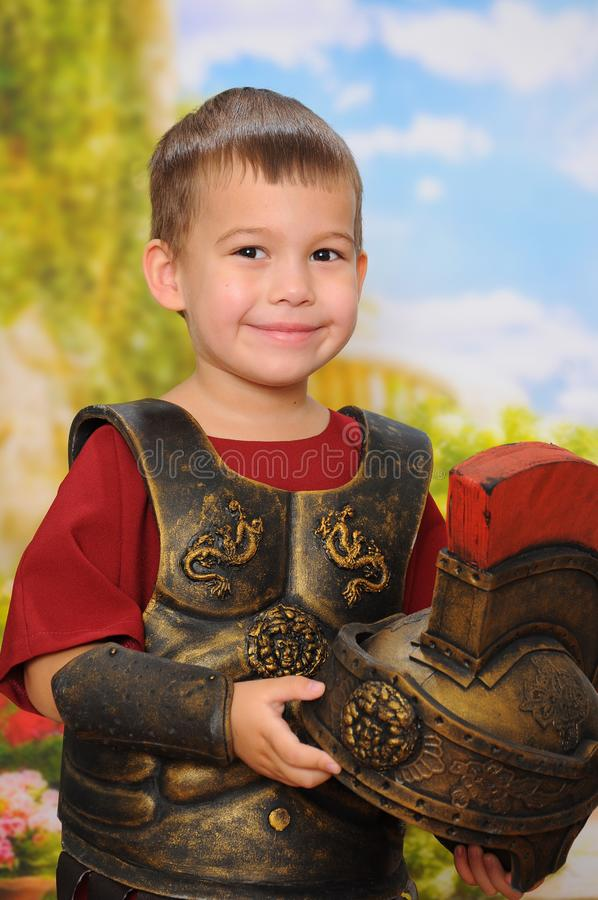 Little boy dressed as a Roman soldier stock image