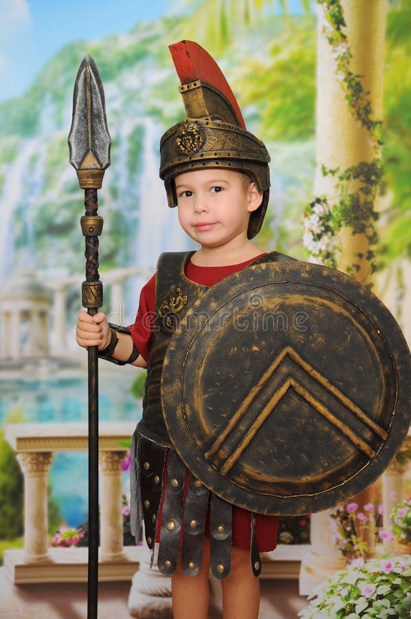 Little boy dressed as a Roman soldier royalty free stock image