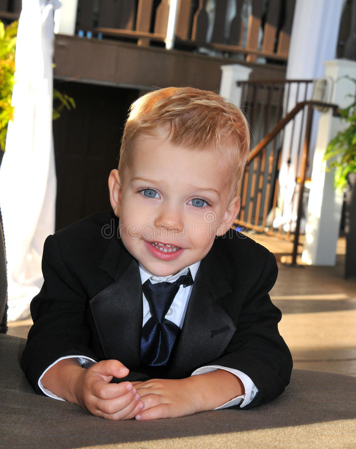 Little Boy Dressed In Suit For A Wedding Stock Photo - Image of ...
