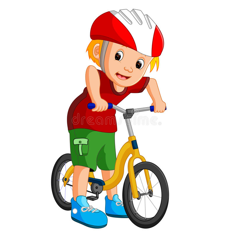 Little boy driving bicycle vector illustration