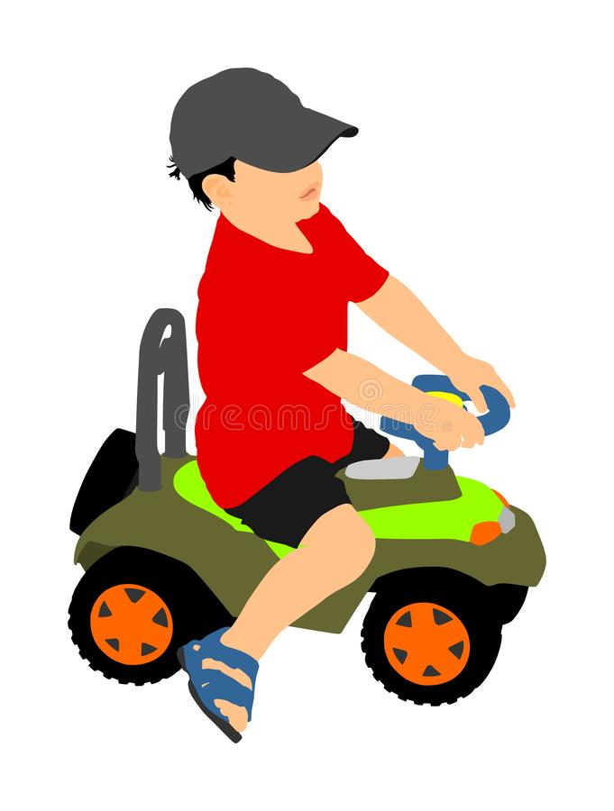 Little boy driving mini car vector illustration. Child with toy automobile. Kid driving pedal car. Happy toddler playing outdoor. Child with birthday gift royalty free illustration