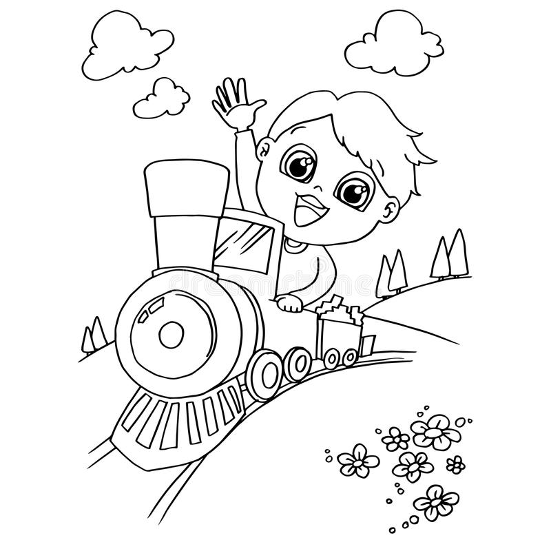 Download little boy driving a toy train coloring page vector stock vector illustration of girl