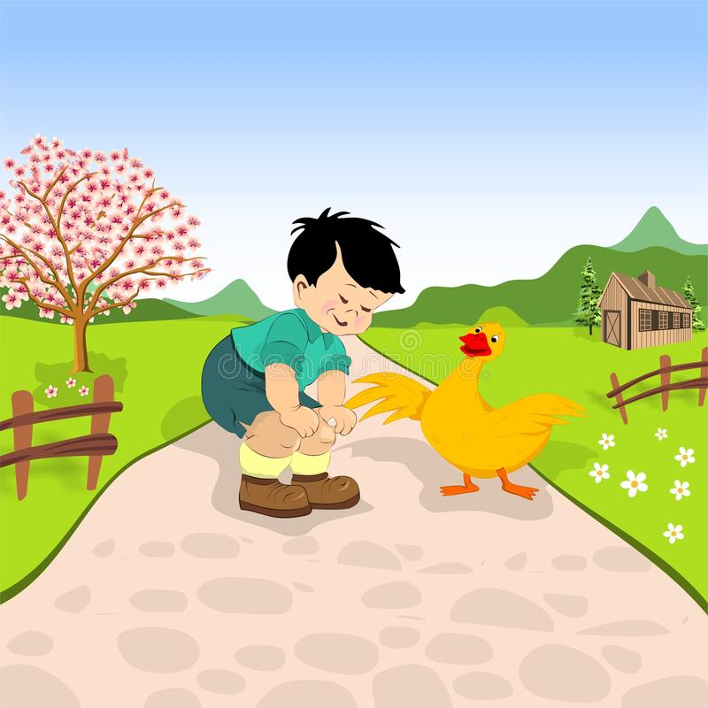 Little boy and duck. On a village road