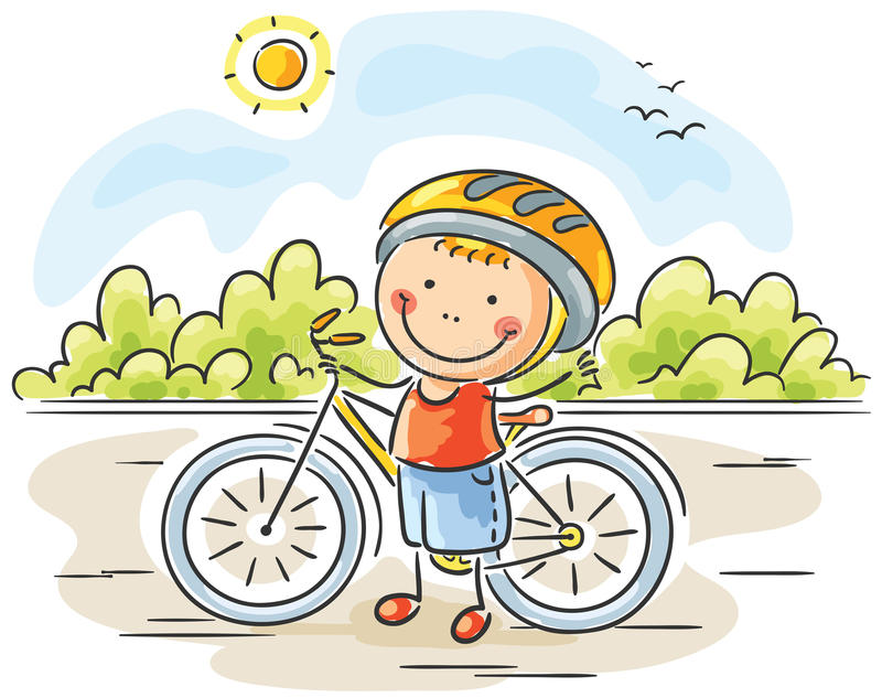 Little Boy e bici illustrazione di stock