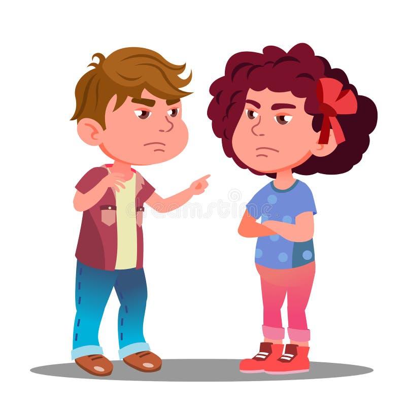 Little Boy e la ragazza hanno offenduto su a vicenda il vettore Illustrazione isolata illustrazione vettoriale